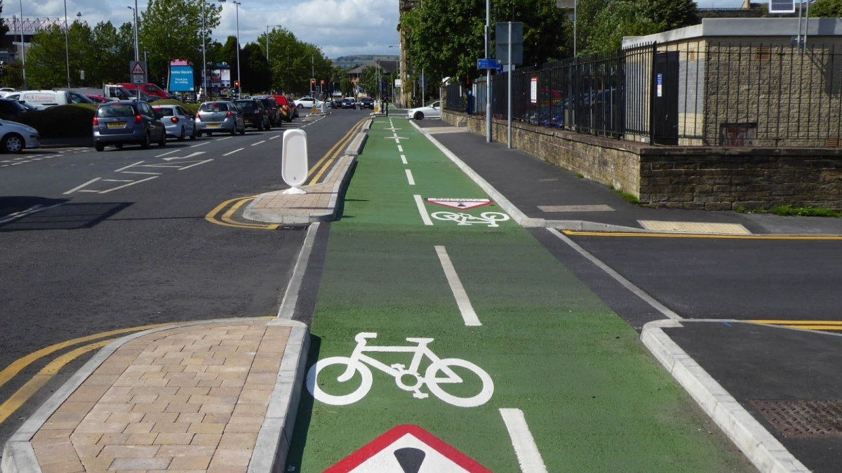 A crossing on the Leeds/Bradford cycle highway