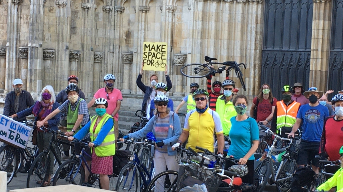 Make Space for Cycling protest outside minster to make