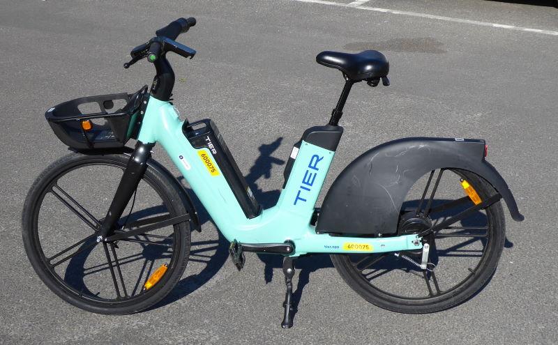 An e-bike stood on its own