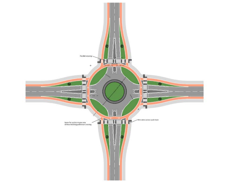 A modal plan for a large roundabout with cycle tracks around the outside and crossings at each of the arms